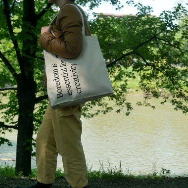 Punkt. tote bags catalogue: Boredom is essential for creativity.